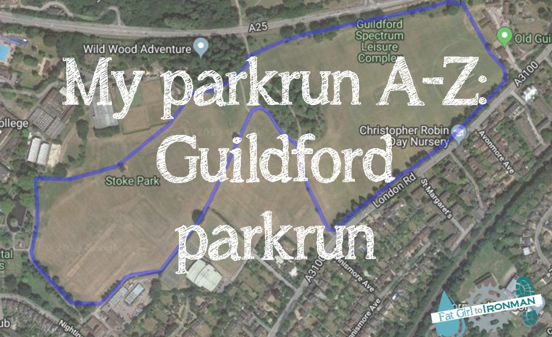 Map of Guildford parkrun with 'My parkrun A-Z: Guildford parkrun' superimposed on it.