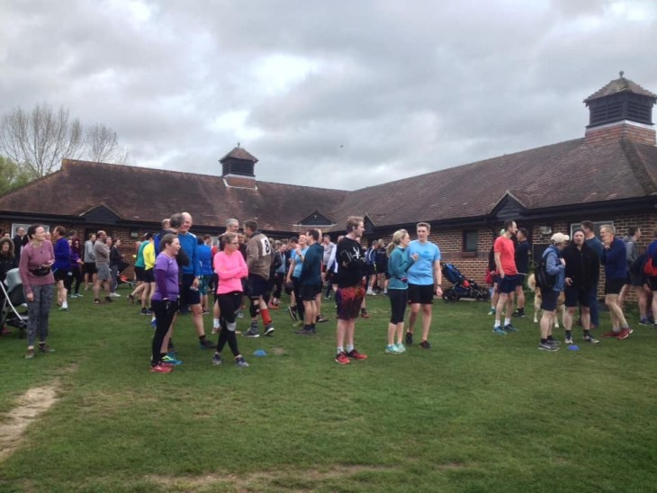 Runners at the start of Guildford parkrun.
