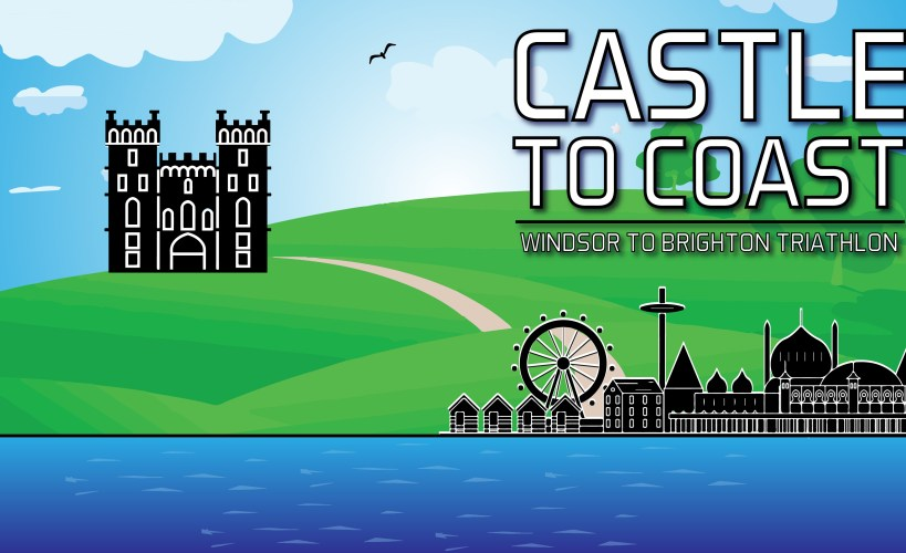 Castle to Coast logo - it includes an illustration of Windsor Castle and Brighton.
