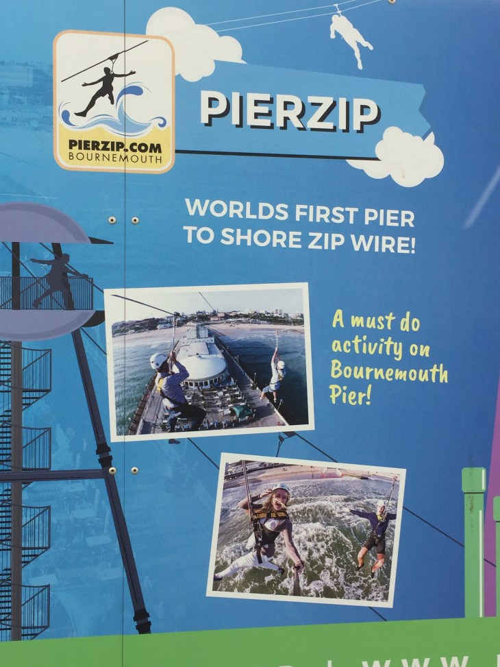 Sign showing images of Bournemouth Pier Zip.