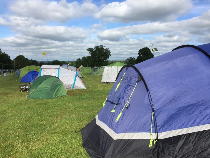 Some tents in the campsite of a UK running festival.