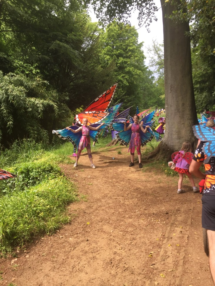 Children dressed as butterflies.