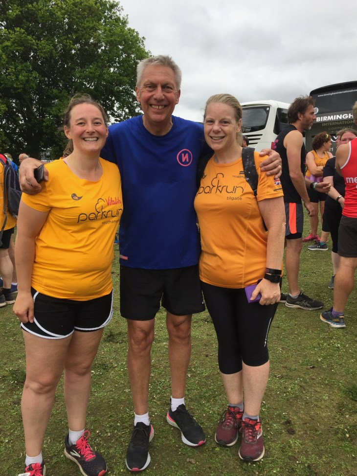 Tamsyn and Julie posing with former 5000m world-record holder Dave Moorcroft.