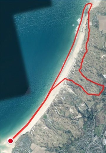 Satellite view of the St Ives Bay 10k route.