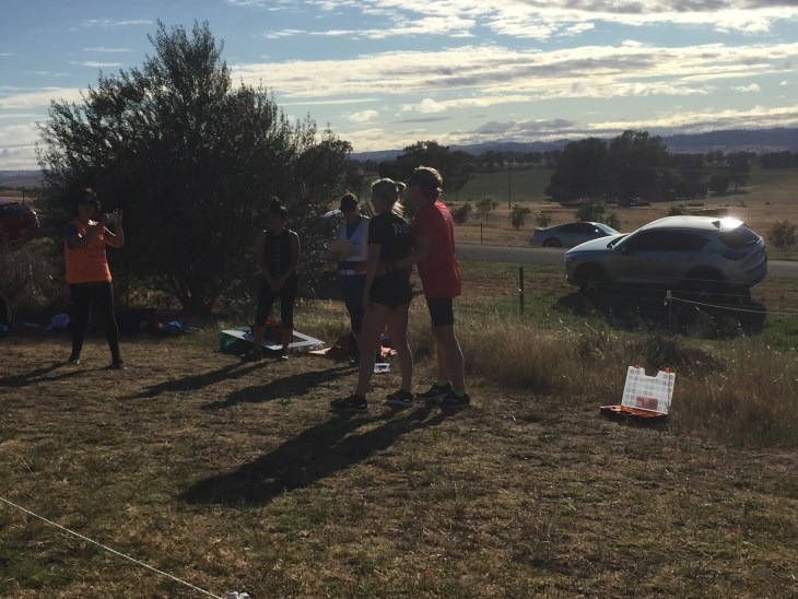 Runners having photos taken at the end of Cowra parkrun.