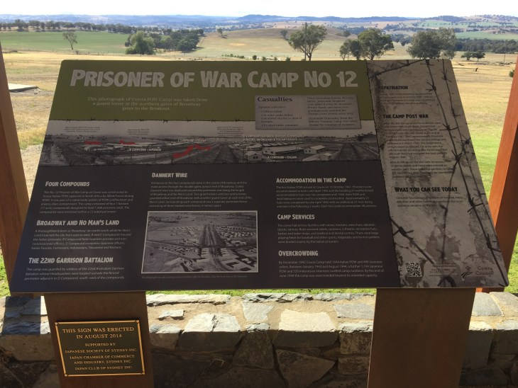 Cowra Prisoner of War Camp information board.