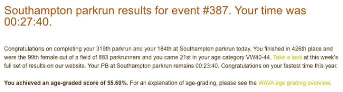 Tamsyn's parkrun result email.