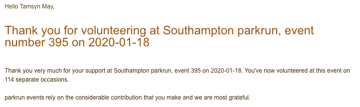 Thank you email for volunteering at Southampton parkrun on 18/01/20.
