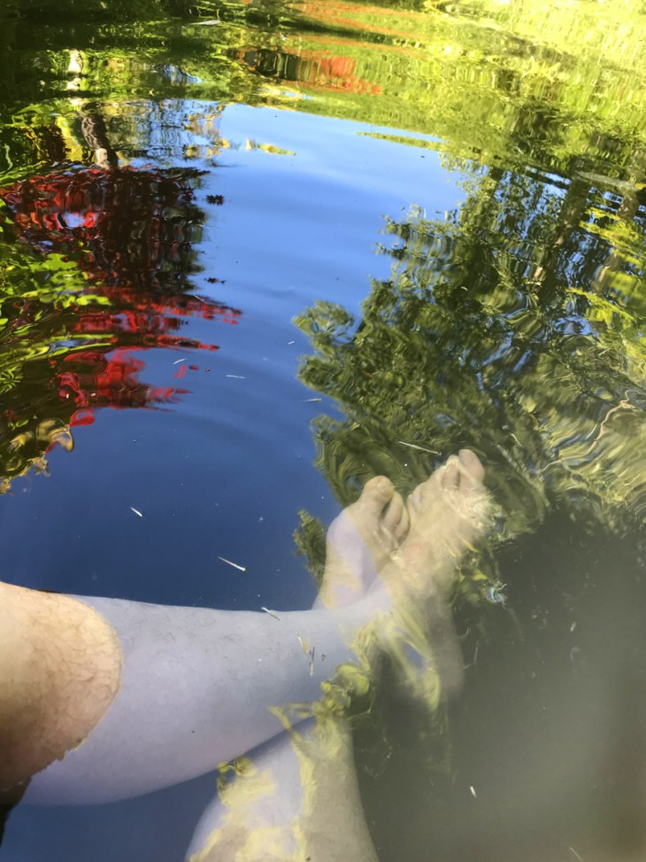 Image of man's feet cooling down in garden koi pond on hot day in the summer, man's hairy legs, feet and toes dipped in cold pond water with koi carp fish swimming nearby, dipping feet into water to cool down on hot day in summer, reflections of garden