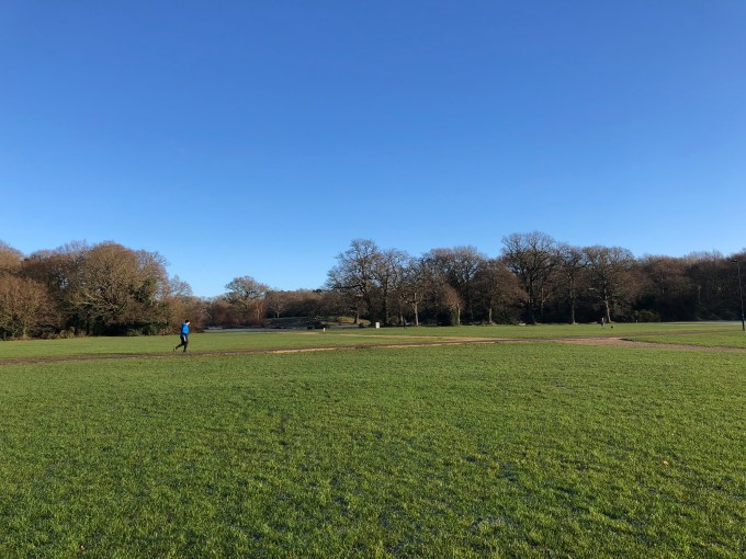 Image of The Flats on Southampton Common. The sky is blue with no clouds. A runner can be seen in the distance.
