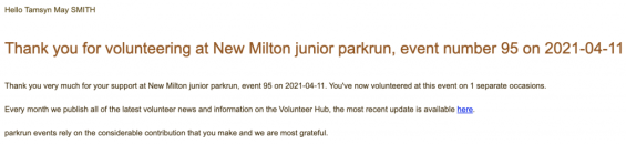 Thank you email for volunteering at New Milton junior parkrun (event #95).