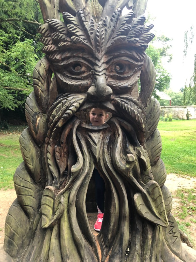 A tree sculpture by Christopher Bain in Staunton Country Park.