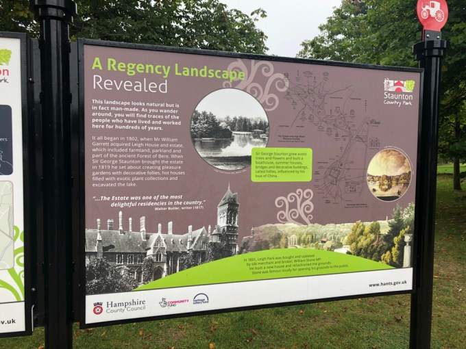 Sign giving the history of Staunton's Country Park