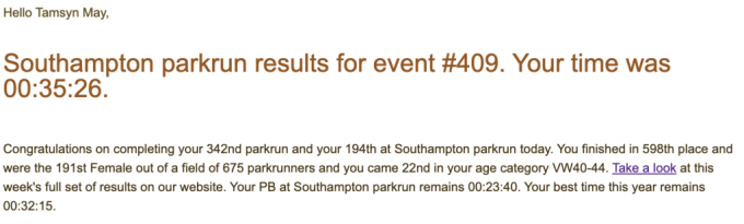 Tamsyn's result email from Southampton parkrun #409. I finished in 35:26.