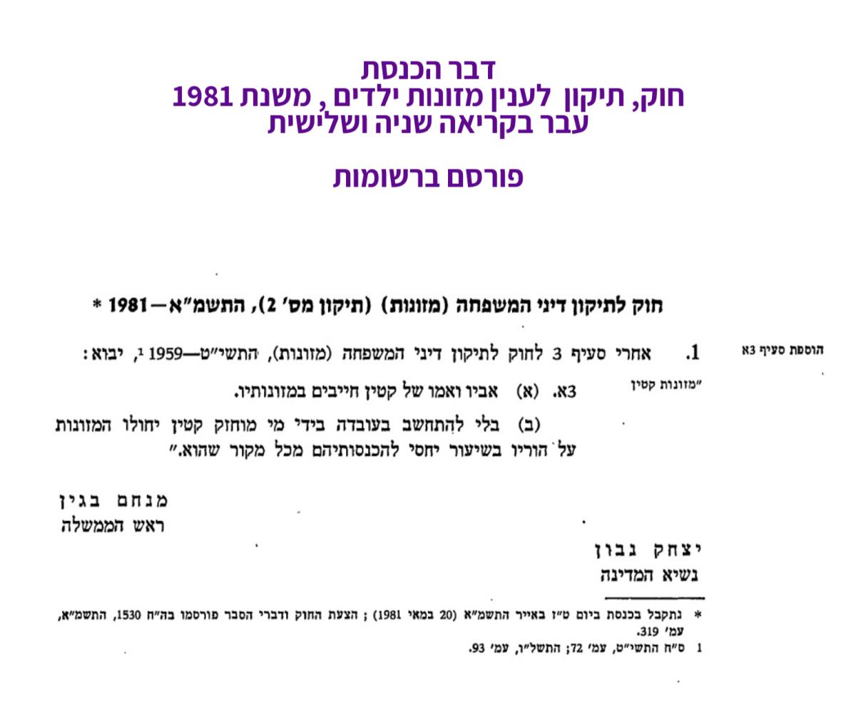 החוק לתיקון דיני משפחה מזונות - 1981