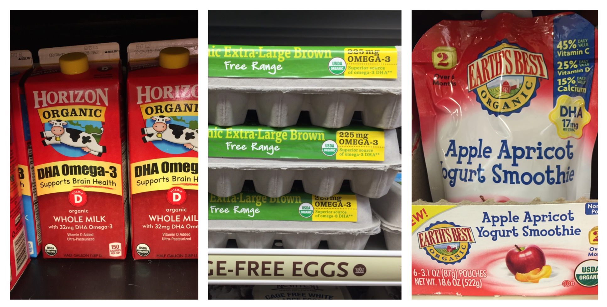 Milk, eggs, and baby food labels with DHA supplement