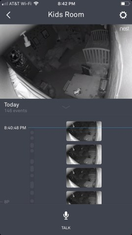 A screenshot of the Nest Cam dashboard within the Nest Cam iPhone app