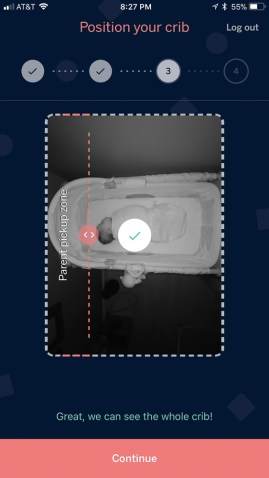Screenshot of positioning your child's crib within the image frame in the Nanit app