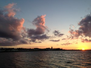 Summer sunset in Sandycove, looking towards Dun Laoghaire. Fr Doyle grew up 2km from this spot