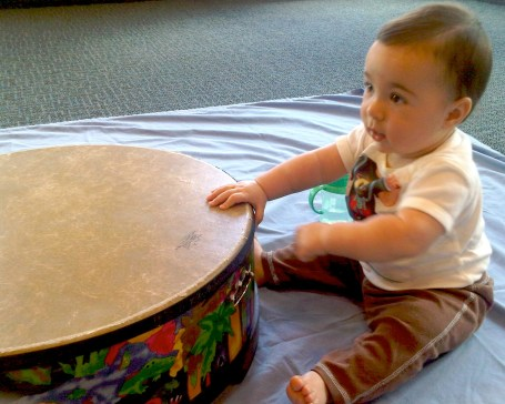 Toddler in music class