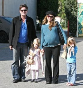 Charlie Sheen with Brooke, Sam, and Lola
