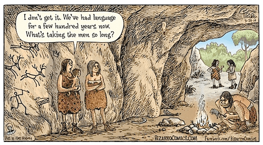 Image result for cavewomen invented pronouns cartoon""