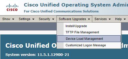 CUCM OS Administrator Device Load Management Menüsü