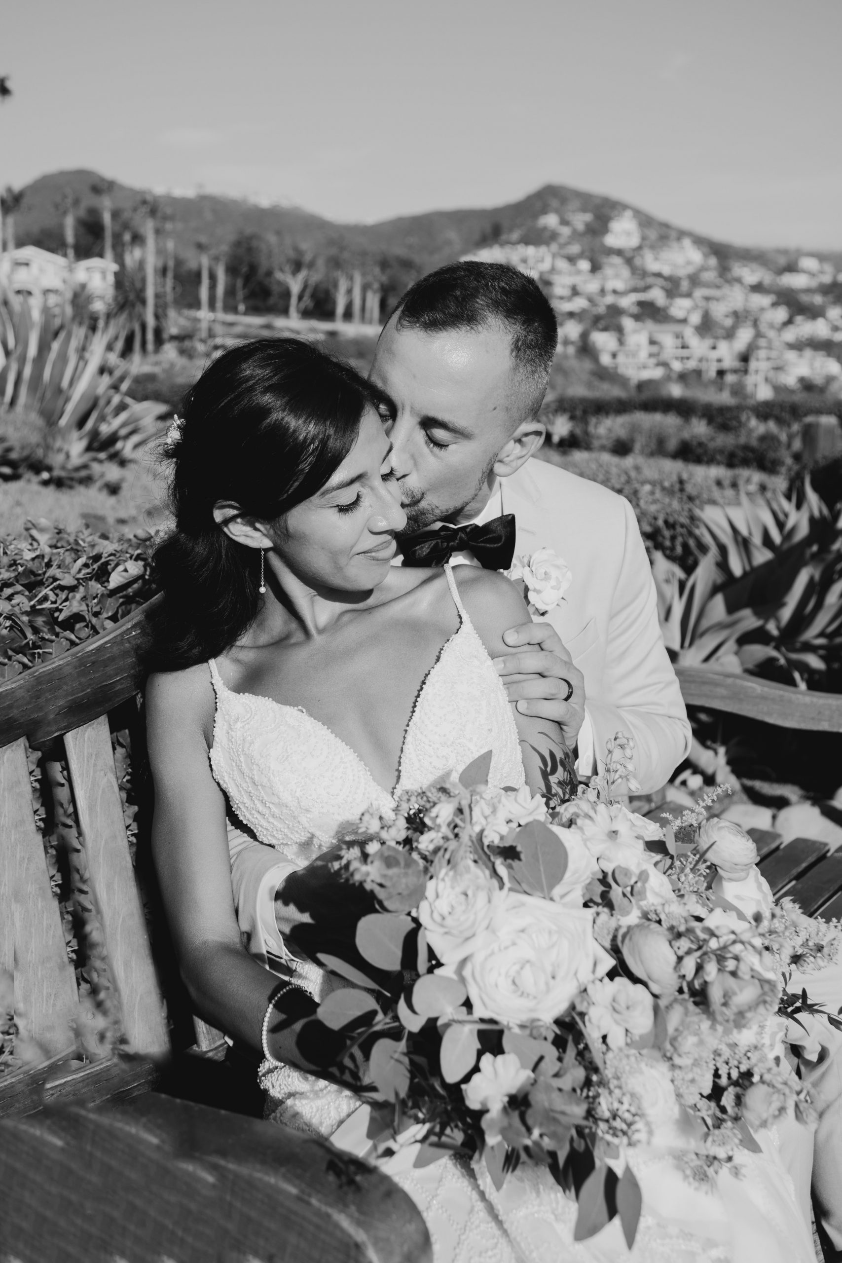 Black and white bridal portrait at Laguna Beach, image by Fatima Elreda Photo