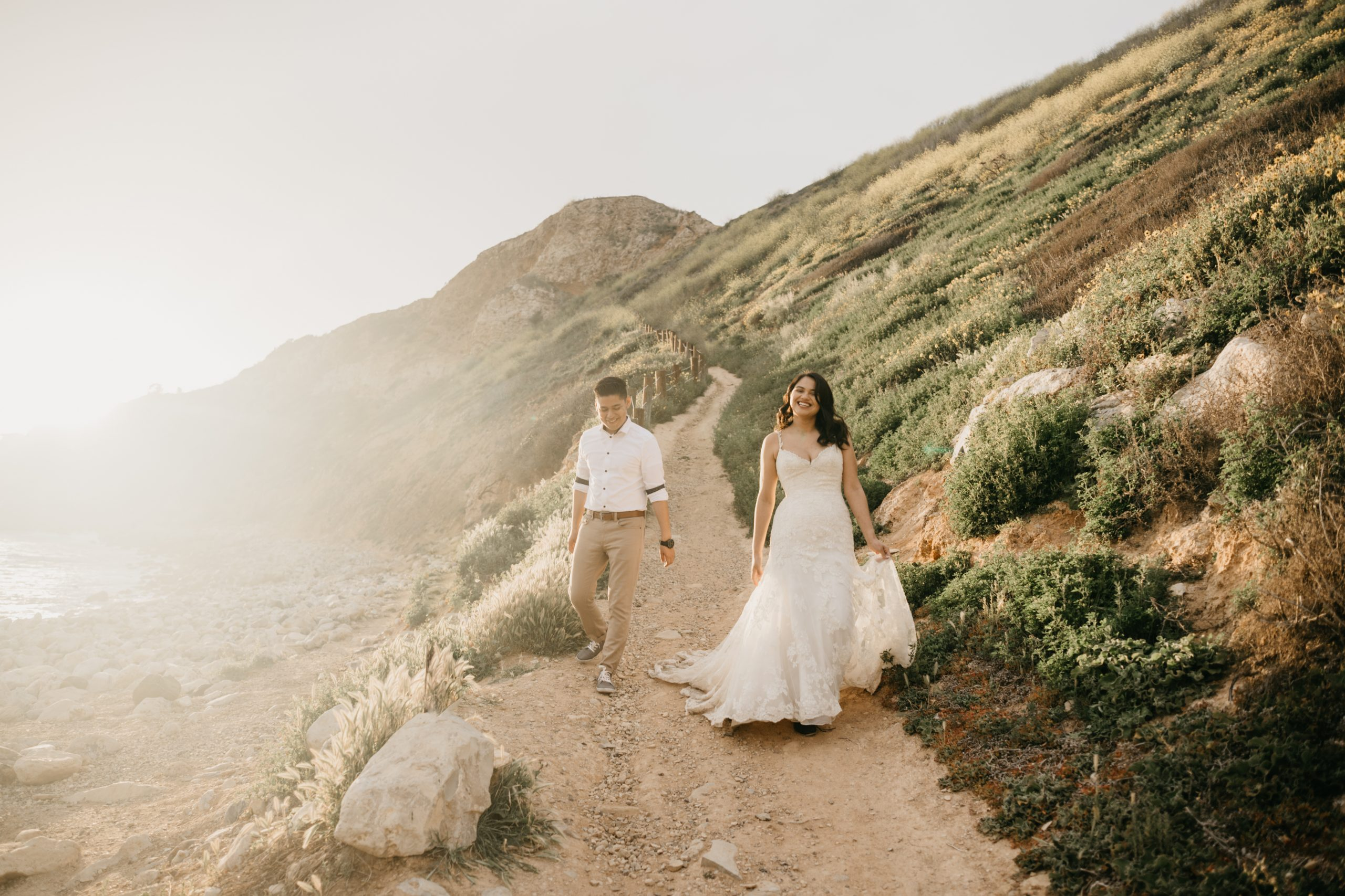 Bride and Groom Bridals and Trash the Dress Session in Palos Verdes, image by Fatima Elreda Photo
