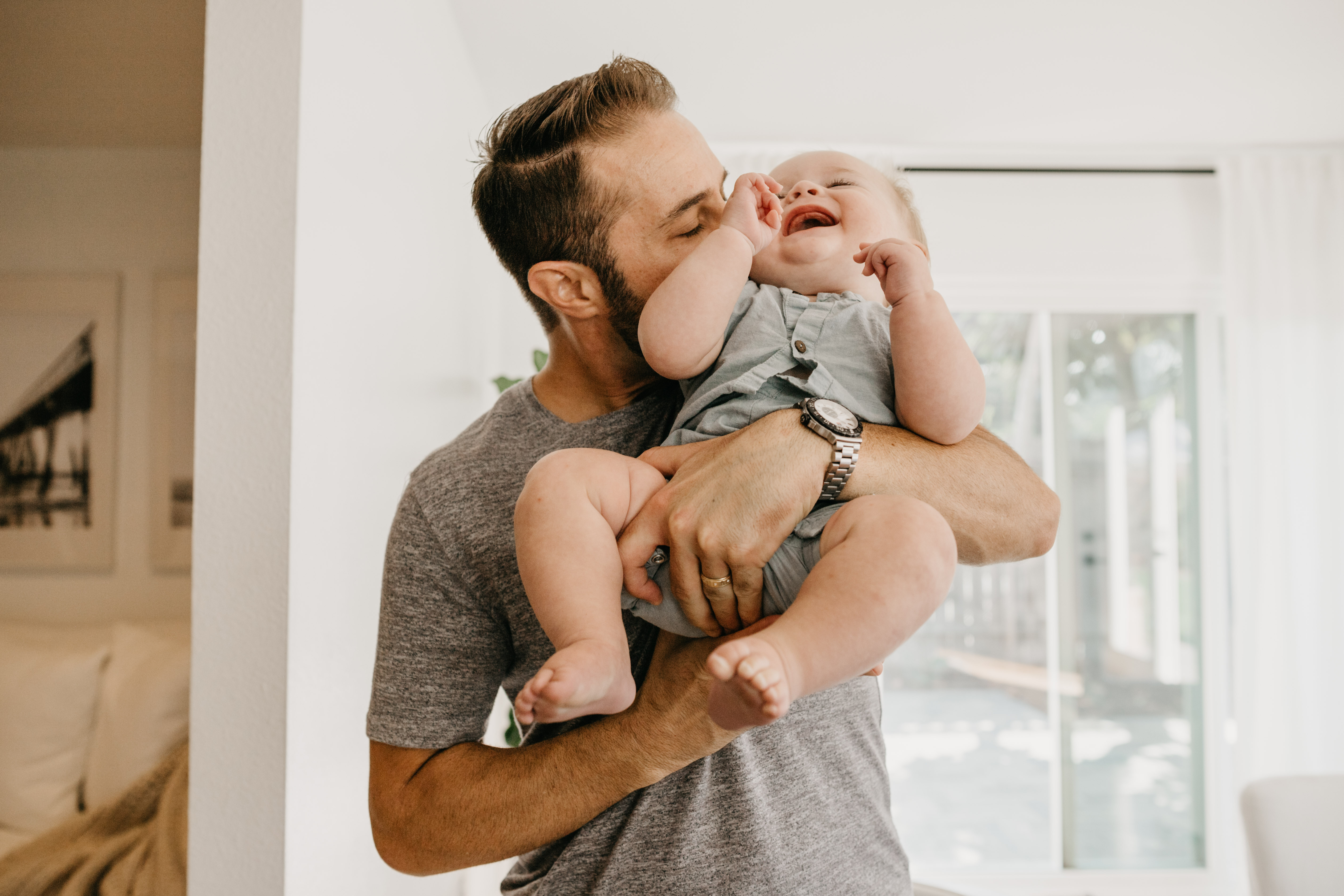 Dad and his cute baby laughing, image by Fatima Elreda Photo