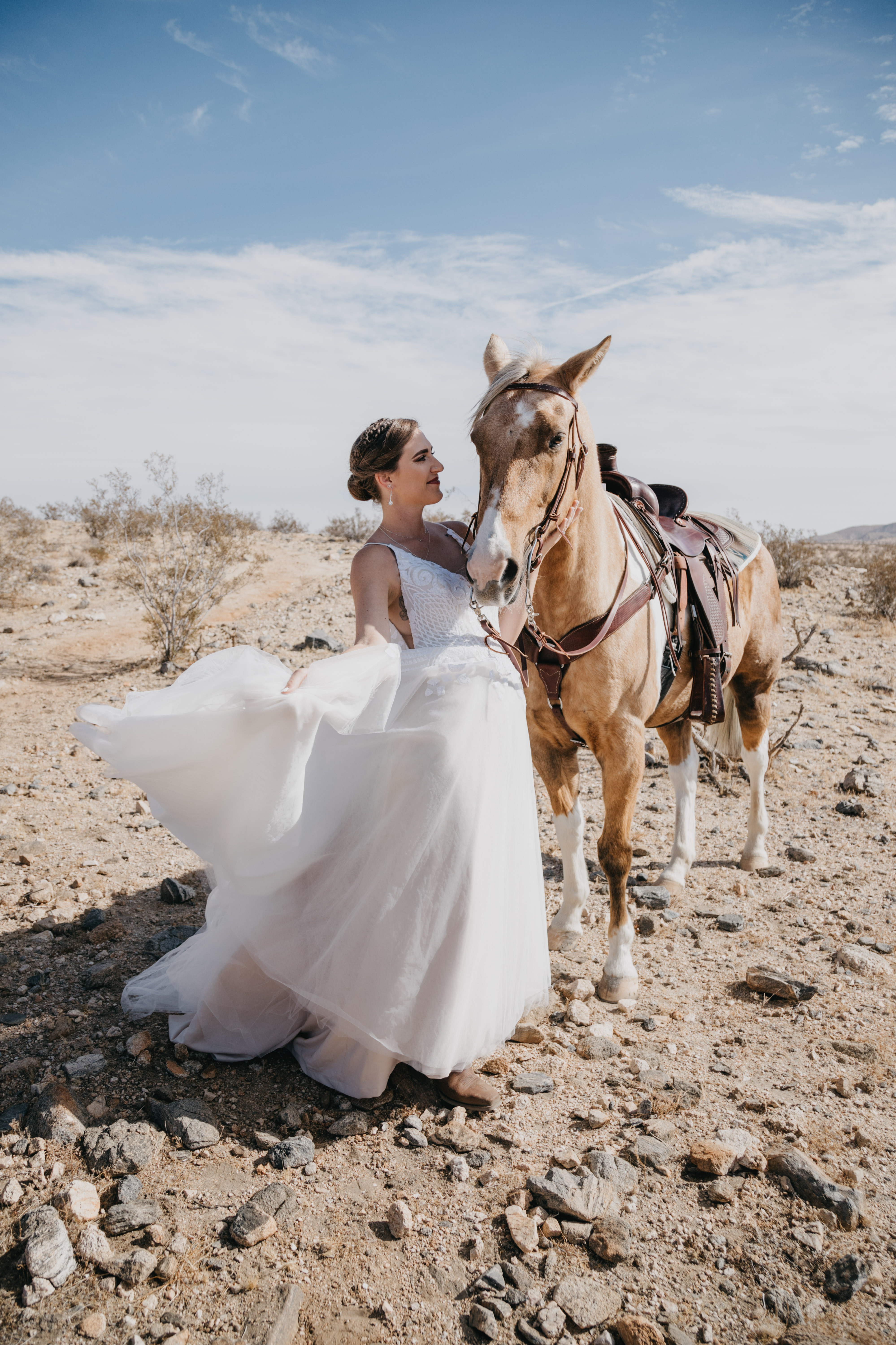 Bride portraits with horses, image by Fatima Elreda Photo