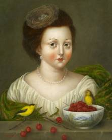 Young Woman with Finches and Cherries