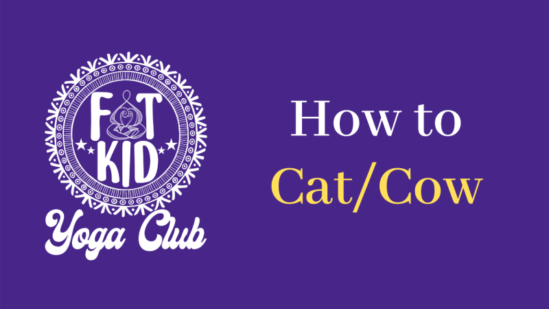 """Image displays the Fat Kid Yoga Club Logo and text """"How to Cat/Cow"""""""