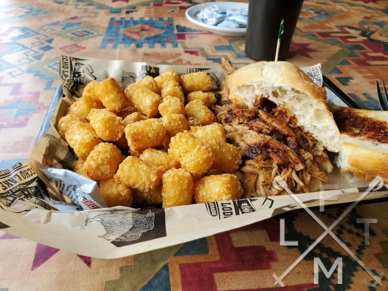 Pulled pork and tater tots from The Echo Lake Lodge.