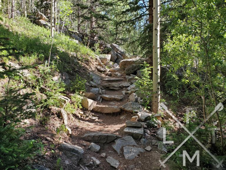 The trail when you enter the Mt Evans Wilderness.  The terrain gets steep and rocky at this point.