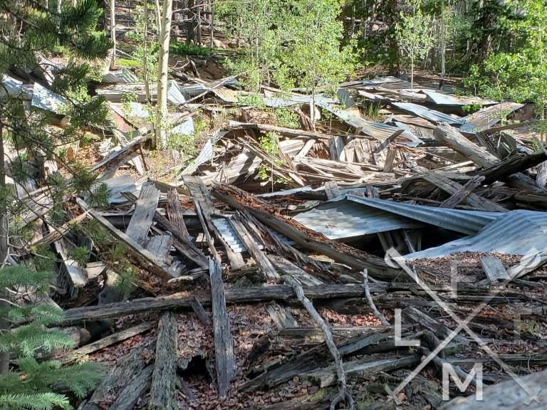 The collapsed remnants of the old mill site at Staunton State Park.