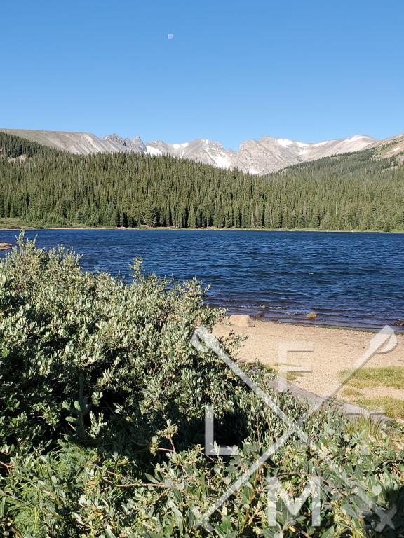 The view from Brainard Lake. Surrounded by pine trees with tall snow capped mountains in the distance