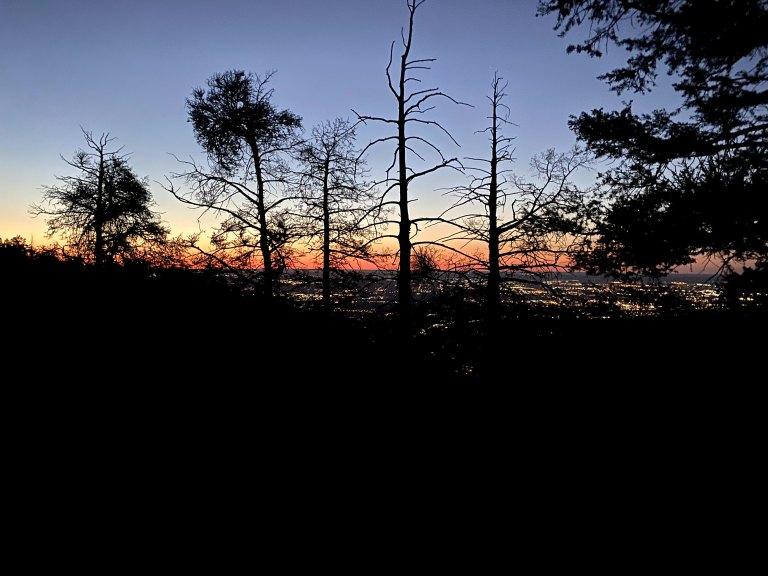 Sunrise on the trail to Pikes Peak.
