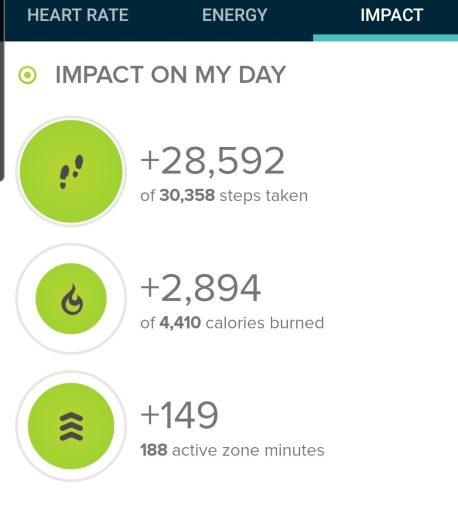 Today's step count was 28,592 steps according to my Fitbit.