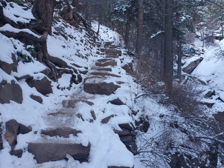 The stairway of rock heading to the Royal Arch