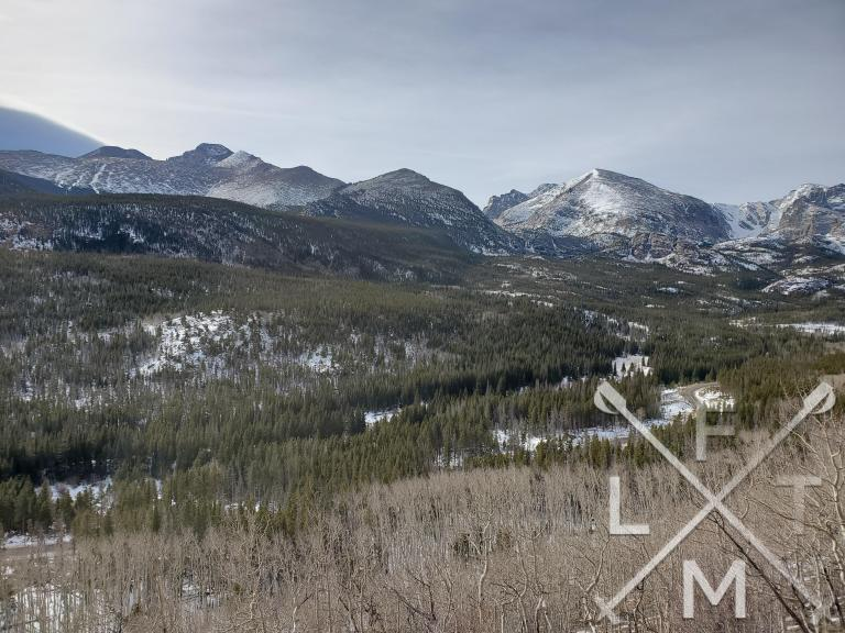Views of several mountain peaks at Rocky Mountain National Park from the Bierstadt Trail.