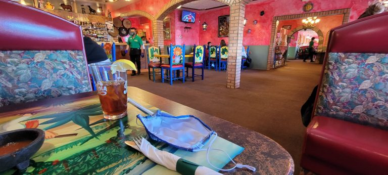 The inside of Tequila's in Trinidad is painted in vibrant pink colors and decorated very well.