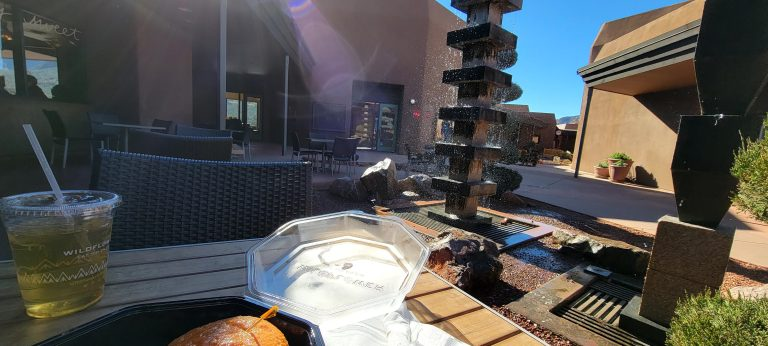 The outside tables at WIldflower in Sedona have a nice water feature and are partially surrounded by the rest of the outdoor mall.