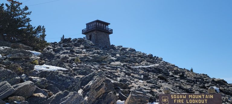 The Mestaa'ėhehe Mountain, formerly Squaw Mountain, fire lookout station sitting at the peak of Squaw Mountain.