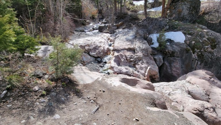 The Baby Bathtubs from the Ouray Perimeter trail.  The water falls a few feet into what looks like a basin among the rocks.