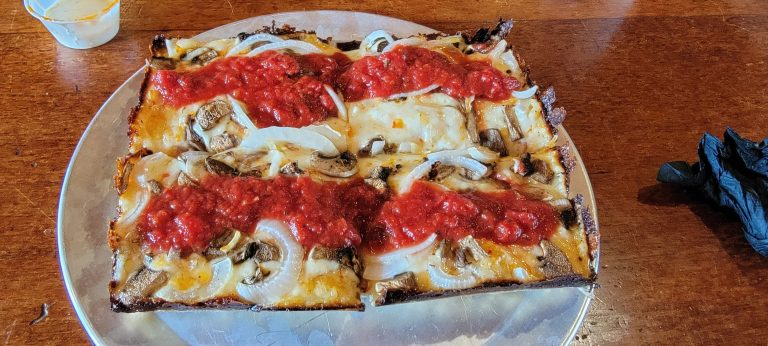 The onion pizza.  A Detroit style 4 slice pizza from Guanella Pass Brewery in Empire.