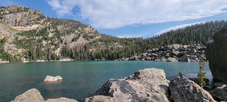 Lake Haiyaha has large boulders all around it which made it tough to get to.  The lake is one of the larger ones and the water is an emerald green.  This was the fourth stop on my Bear Lake Trailhead: Lakes Loop tour.