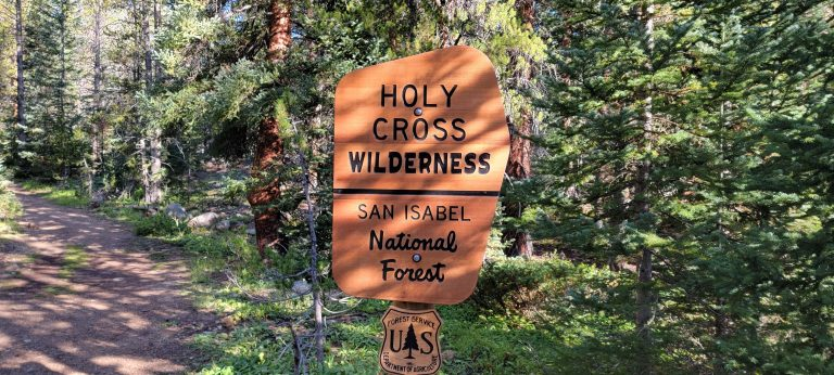 The Holy Cross Wilderness sign near the start of the Timberline Lake Trail