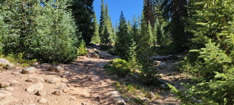 The Timberline Lake Trail getting extra rocky and steep as the lake grows near.