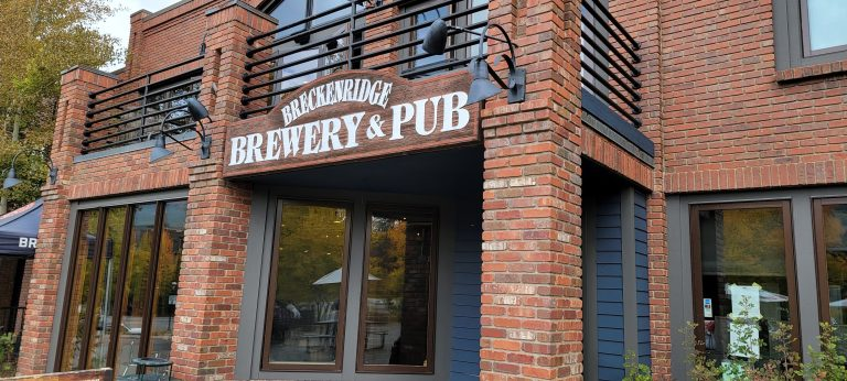 The sign and entrance of the Breckenridge Brewery and pub.